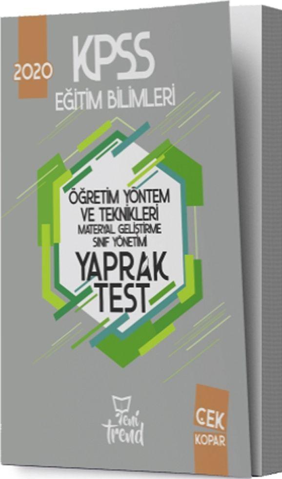 Yeni Trend Yayınları 2020 KPSS Eğitim Bilimleri Öğretim Yöntem ve Teknikleri Yaprak Test