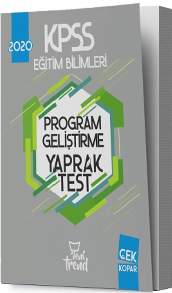 Yeni Trend Yayınları 2020 KPSS Eğitim Bilimleri Program Geliştirme Yaprak Test