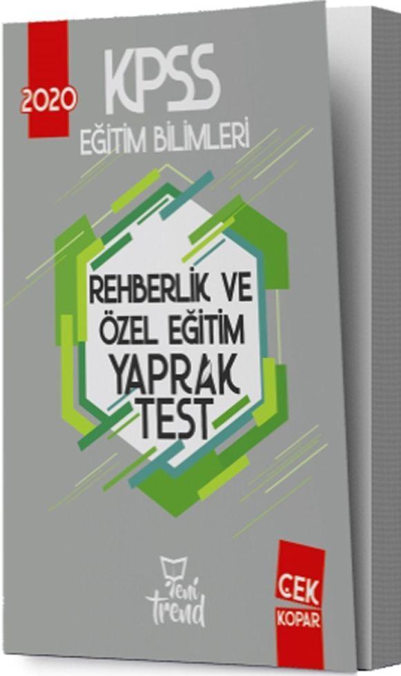 Yeni Trend Yayınları 2020 KPSS Eğitim Bilimleri Rehberlik ve Özel Eğitim Yaprak Test
