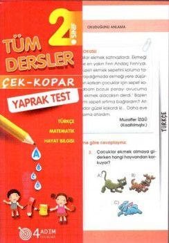 4 Adım Yayıncılık 2. Sınıf Tüm Dersler Çek Kopar Yaprak Test