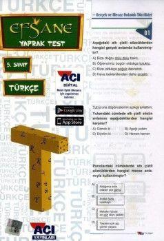 Açı Yayınları 5. Sınıf EFSANE Türkçe Çek Kopart Yaprak Test
