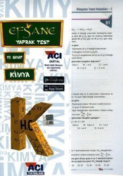 Açı Yayınları 10. Sınıf EFSANE Kimya Çek Kopart Yaprak Test
