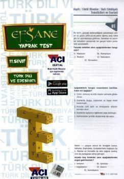 Açı Yayınları 11. Sınıf Türk Dili ve Edebiyatı EFSANE Çek Kopart Yaprak Test
