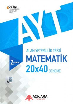 Açık Ara Yayınları YKS 2. Oturum AYT Matematik Deneme 20x40
