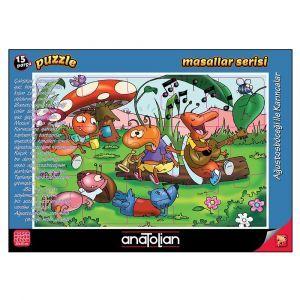 Ağustos Böceği ile Karıncalar 15 Parça Puzzle - Yapboz