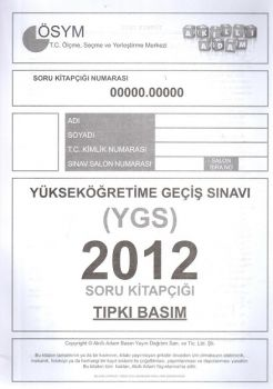 Akıllı Adam Yayınları YGS 2012 Tıpkı Basım Soru Kitapçığı
