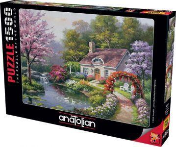 Anatolian Çiçekli Ev Spring Cottage In Full Bloom  1500 Parça Puzzle - Yapboz