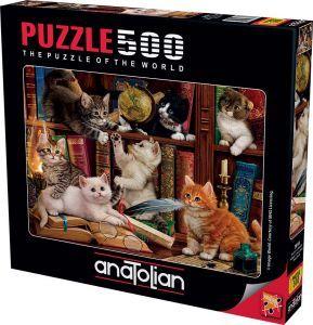 Anatolian Kediler ve Kitaplar Kittens in the Library 500 Parça Puzzle - Yapboz