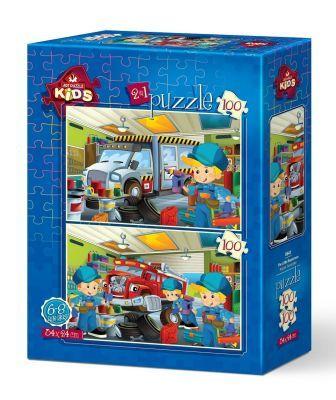 Art Puzzle Küçük Tamirciler 2'li 100+100 Parça Yapboz