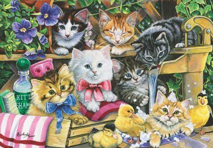 Banyo Zamanı / Bathtime Kittens 260 parça Puzzle - Yapboz