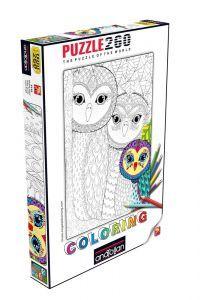 Baykuş Ailesi / Owls Family 260  Coloring Parça Puzzle - Yapboz