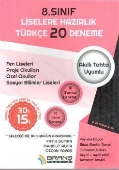 Branş Akademi 8. Sınıf Liselere Hazırlık Türkçe 20 Deneme