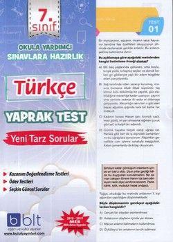 Bulut Eğitim ve Kültür Yayınları 7. Sınıf Türkçe Yaprak Test