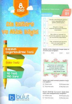 Bulut Eğitim ve Kültür Yayınları 8. Sınıf Din Kültürü ve Ahlak Bilgisi Kazanım Değerlendirme Testi