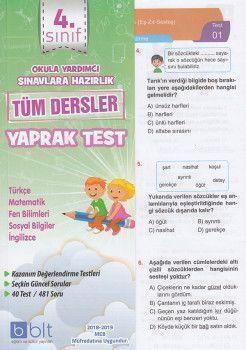 Bulut Eğitim ve Kültür Yayınları 4. Sınıf Tüm Dersler Çek Kopart Yaprak Test