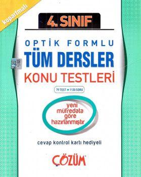 Çözüm Yayınları 4. Sınıf Tüm Dersler Optik Formlu Konu Testleri