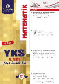 Özdebir Yayınları YKS 1. Oturum TYT Matematik Poşet Yaprak Test