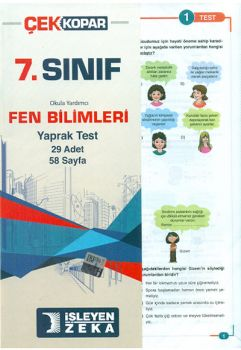 İşleyen Zeka 7. Sınıf Fen Bilimleri Çek Kopar Yaprak Test