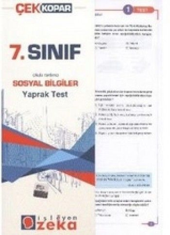 İşleyen Zeka 7. Sınıf Sosyal Bilgiler Yaprak Test