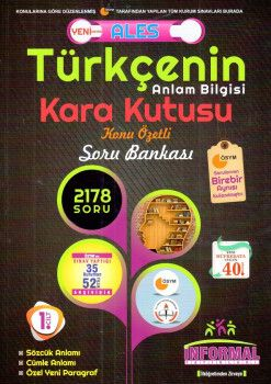 İnformal Yayınları ALES Türkçenin Anlam Bilgisi Kara Kutusu Konu Özetli Soru Bankası Anlam Bilgisi 1. Cilt