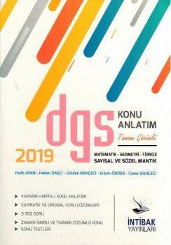 İntibak Yayınları 2019 DGS Sayısal ve Sözel Mantık Konu Anlatım