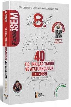 İsem Yayınları 2021 8. Sınıf LGS T.C. İnkılap Tarihi ve Atatürkçülük Farklı İsem 40 li Sarmal Deneme