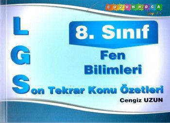 Cuzun Hoca Yayınları 8. Sınıf LGS Fen Bilimleri Son Tekrar Konu Özetleri Cep Kitabı