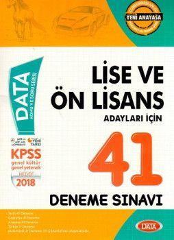 Data Yayınları 2018 KPSS Lise Ön Lisans Adayları İçin 41 Deneme Sınavı