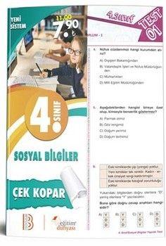 Eğitim Dünyası Yayınları 4. Sınıf Sosyal Bilgiler Çek Kopar Yaprak Test
