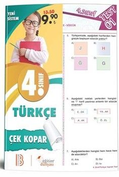 Eğitim Dünyası Yayınları 4. Sınıf Türkçe Çek Kopar Yaprak Test
