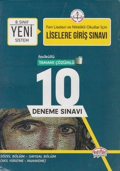 Editör Yayınları 8. Sınıf Lgs Tamamı Çözümlü 10 Deneme Sınavı