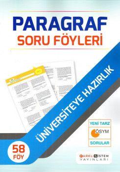 Farklı Sistem Yayınları Üniversiteye Hazırlık Paragraf 58 Soru Föyleri