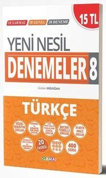 Gama Okul Yayınları 8. Sınıf Türkçe Yeni Nesil Denemeler