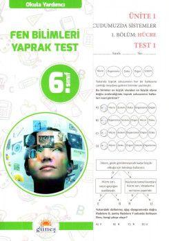 Güneş Yayınları 6. Sınıf Fen Bilimleri Yaprak Test