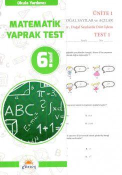 Güneş Yayınları 6. Sınıf Matematik Yaprak Test