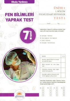 Güneş Yayınları 7. Sınıf Fen Bilimleri Yaprak Test