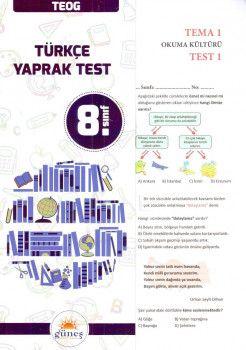 Güneş Yayınları 8. Sınıf Türkçe Yaprak Test