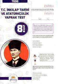Güneş Yayınları 8. Sınıf T.C. İnkılap Tarihi ve Atatürkçülük Yaprak Test
