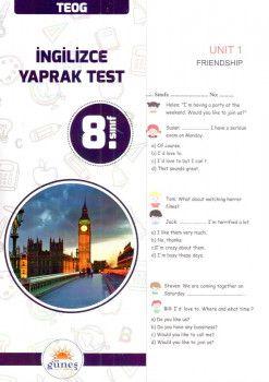 Güneş Yayınları 8. Sınıf İngilizce Yaprak Test
