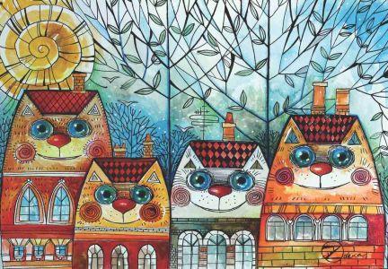 Kedi Evler  City Cat 500 Parça Puzzle - Yapboz