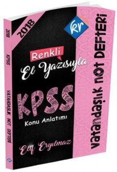 KR Akademi 2018 KPSS Vatandaşlık Renkli El Yazısıyla Not Defteri