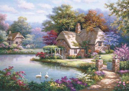 Kuğular ve Kır Evi The Swan Cottage 1500 Parça Yapboz