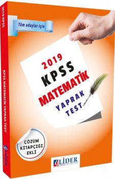 Lider Yayınları 2019 KPSS Matematik Çözümlü Yaprak Test
