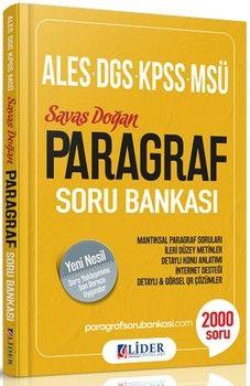 Lider Yayınları ALES DGS KPSS MSÜ Paragraf Soru Bankası