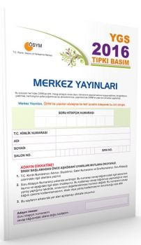 Merkez Yayınları YGS 2016 ÖSYM Tıpkı Basım Deneme