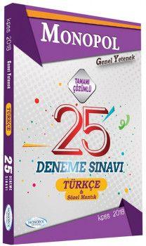 Monopol Yayınları KPSS Genel Yetenek Türkçe Sözel Mantık Tamamı Çözümlü 25 Deneme Sınavı
