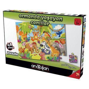 Ormanda Yaşayan Canlılar 48 Parça Puzzle - Yapboz