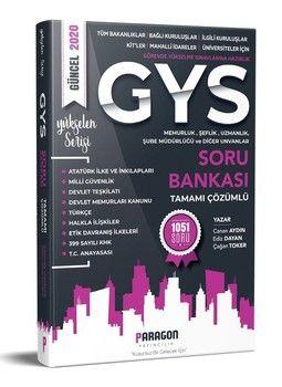 Paragon Yayıncılık GYS Tüm Kurumlara Yönelik Memurluk Şeflik Müdürlük Uzmanlık ve Diğer Unvanlar İçin Çözümlü Soru Bankası
