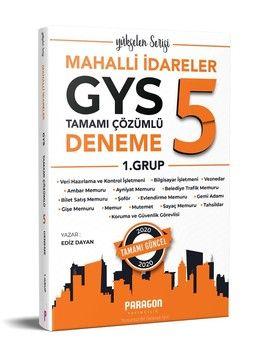 Paragon Yayıncılık Mahalli İdareler GYS 1. Grup için 5 Çözümlü Deneme Sınavı