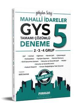 Paragon Yayıncılık GYS Mahalli İdareler  2. 3. ve 4. Gruplar için Çözümlü 5 Deneme